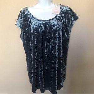 LC Lauren Conrad blue blouse top NWT bow XL